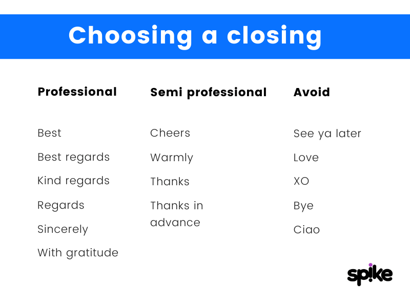 Choose closing for email