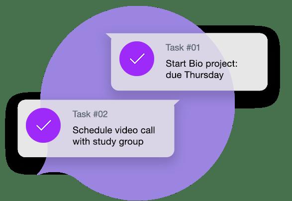 Create Tasks to organize schoolwork