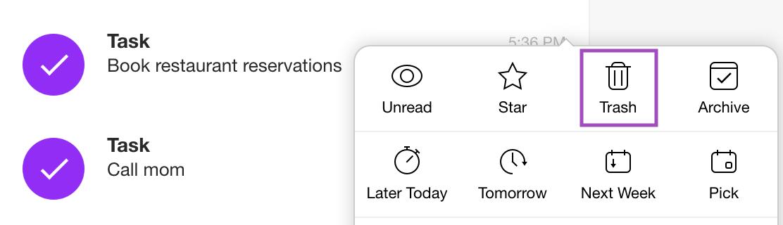 Delete task email