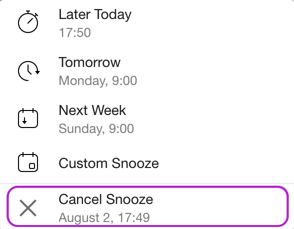 Cancelling snooze on Desktop